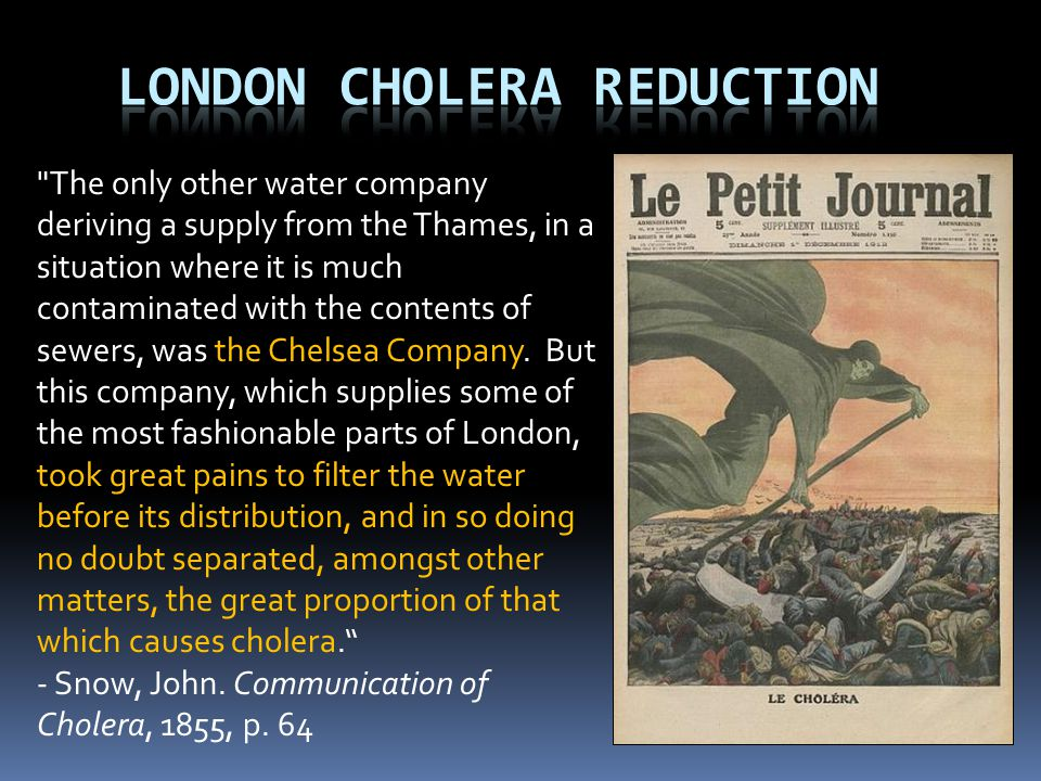 The only other water company deriving a supply from the Thames, in a situation where it is much contaminated with the contents of sewers, was the Chelsea Company.