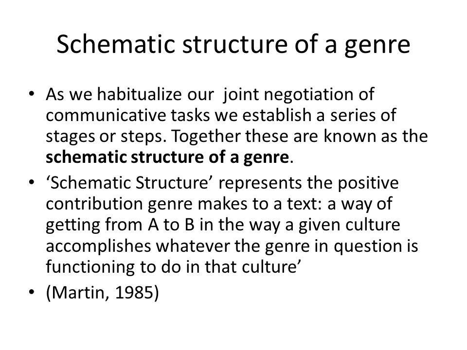 Schematic structure of a genre As we habitualize our joint negotiation of communicative tasks we establish a series of stages or steps.
