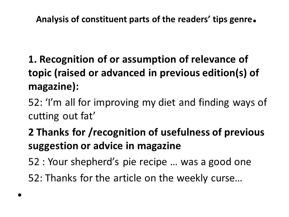 Analysis of constituent parts of the readers' tips genre.