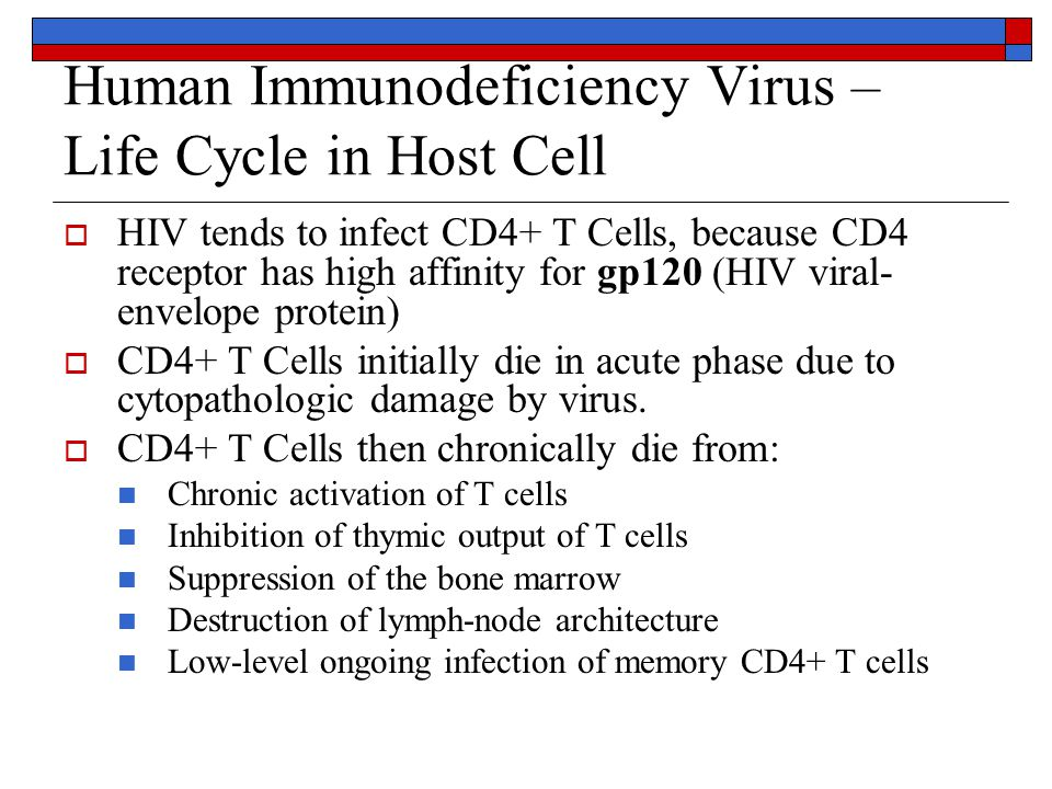 Human Immunodeficiency Virus – Life Cycle in Host Cell  HIV tends to infect CD4+ T Cells, because CD4 receptor has high affinity for gp120 (HIV viral- envelope protein)  CD4+ T Cells initially die in acute phase due to cytopathologic damage by virus.