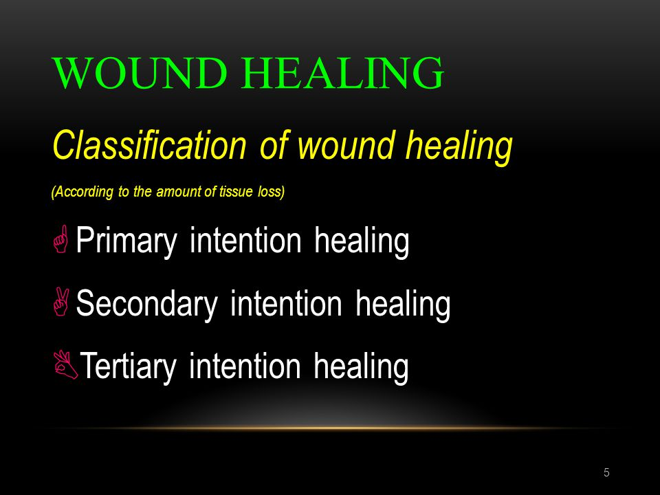 WOUND HEALING 5 Classification of wound healing (According to the amount of tissue loss)  Primary intention healing  Secondary intention healing  T