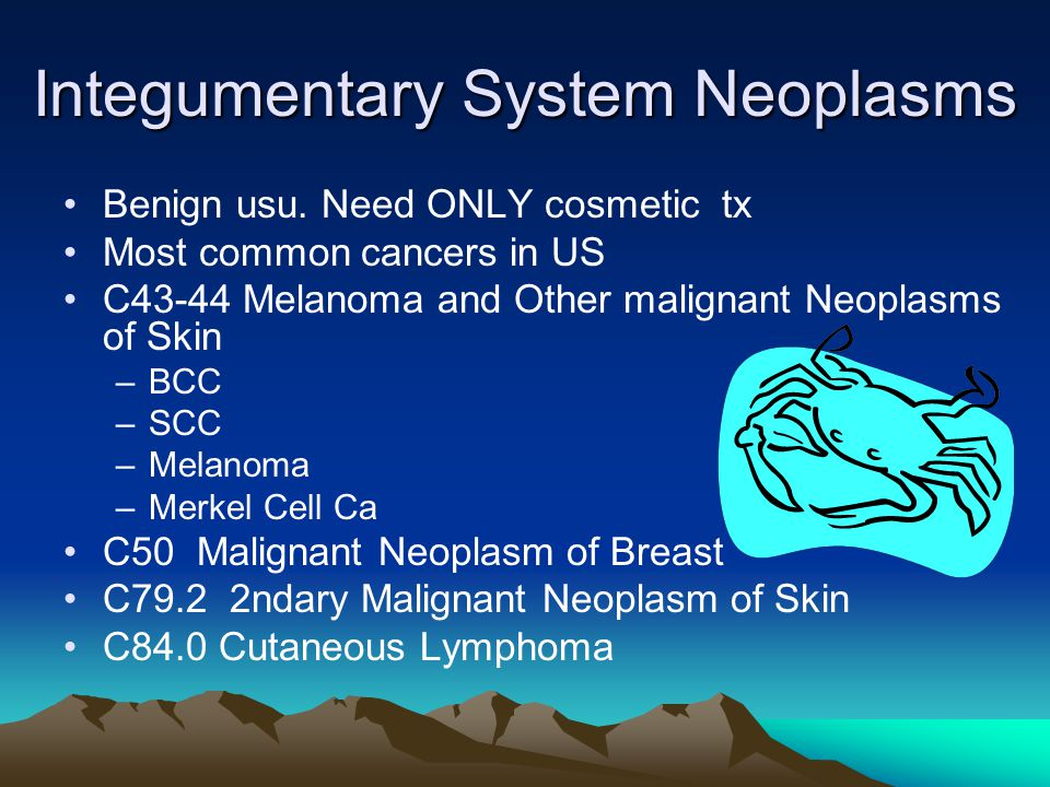 Integumentary System Neoplasms Benign usu. Need ONLY cosmetic tx Most common cancers in US C43-44 Melanoma and Other malignant Neoplasms of Skin –BCC