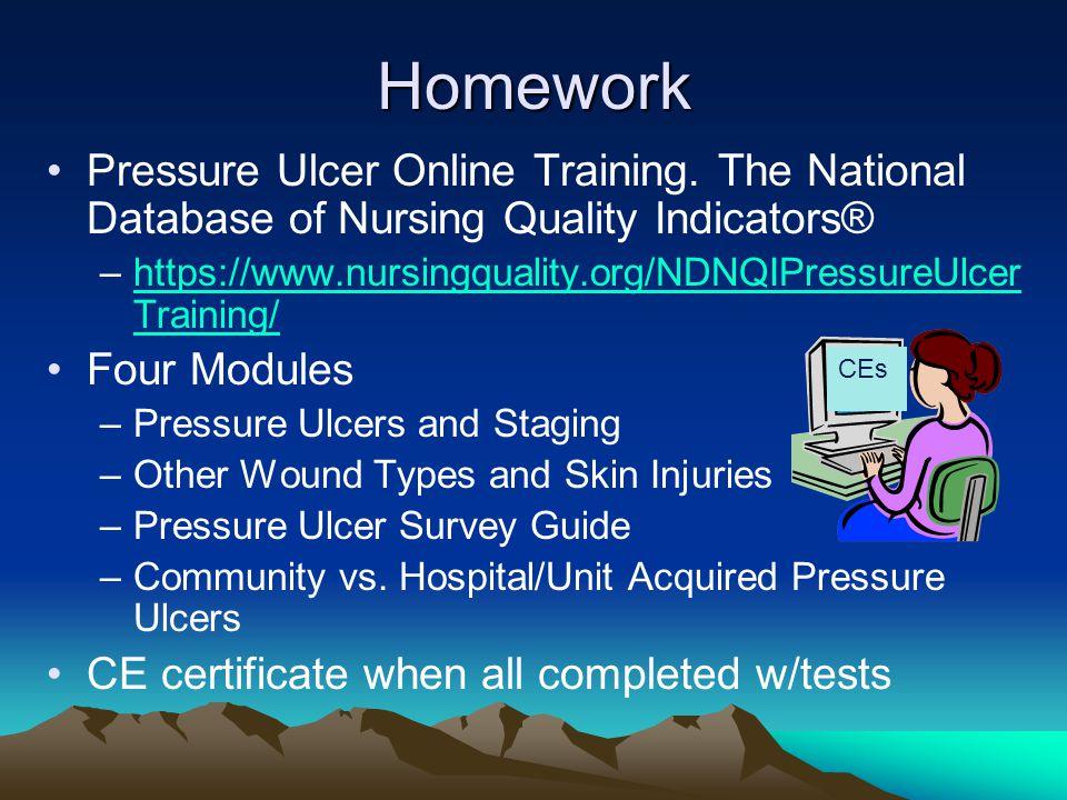 Homework Pressure Ulcer Online Training. The National Database of Nursing Quality Indicators® –https://www.nursingquality.org/NDNQIPressureUlcer Train
