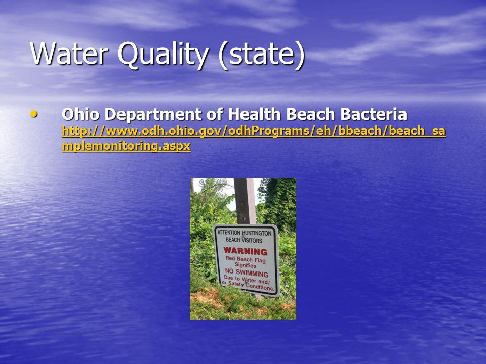 Water Quality (state) Ohio Department of Health Beach Bacteria http://www.odh.ohio.gov/odhPrograms/eh/bbeach/beach_sa mplemonitoring.aspx Ohio Department of Health Beach Bacteria http://www.odh.ohio.gov/odhPrograms/eh/bbeach/beach_sa mplemonitoring.aspx http://www.odh.ohio.gov/odhPrograms/eh/bbeach/beach_sa mplemonitoring.aspx http://www.odh.ohio.gov/odhPrograms/eh/bbeach/beach_sa mplemonitoring.aspx