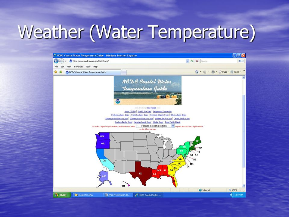 Weather (Rip Currents) For some areas, the National Weather Service has Rip Current Forecasts For some areas, the National Weather Service has Rip Current Forecasts –http://www.ripcurrents.noaa.gov/forecasts.shtml http://www.ripcurrents.noaa.gov/forecasts.shtml