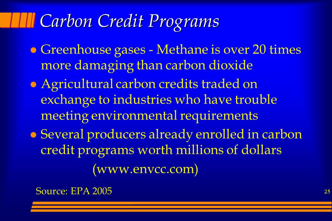 25 Carbon Credit Programs l Greenhouse gases - Methane is over 20 times more damaging than carbon dioxide l Agricultural carbon credits traded on exchange to industries who have trouble meeting environmental requirements l Several producers already enrolled in carbon credit programs worth millions of dollars (www.envcc.com) Source: EPA 2005
