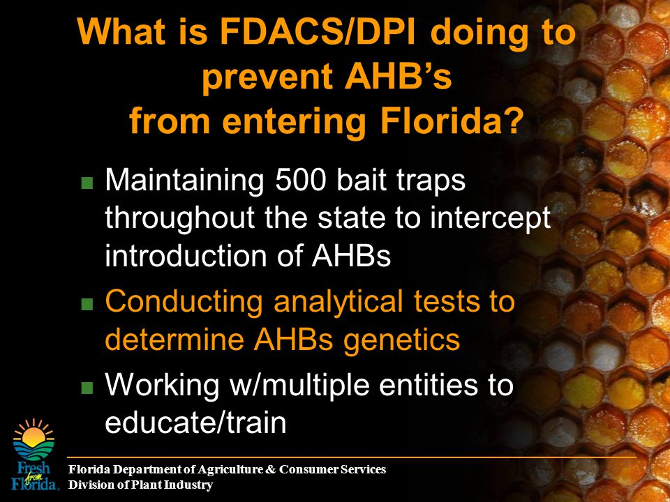 Florida Department of Agriculture & Consumer Services Division of Plant Industry Maintaining 500 bait traps throughout the state to intercept introduc