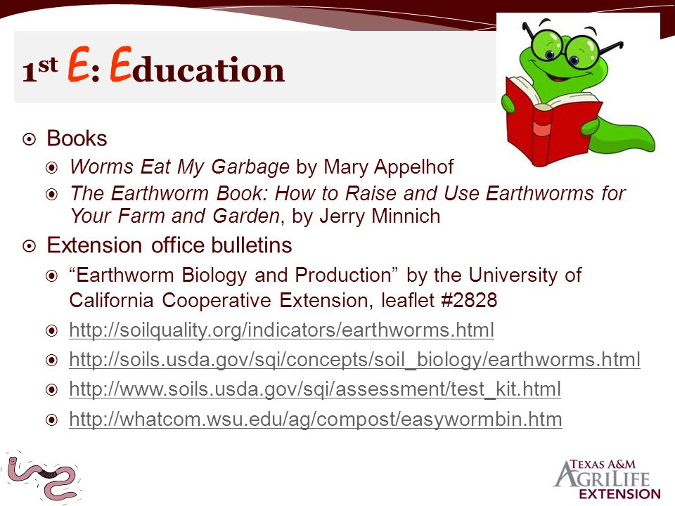  Books ◉ Worms Eat My Garbage by Mary Appelhof ◉ The Earthworm Book: How to Raise and Use Earthworms for Your Farm and Garden, by Jerry Minnich  Extension office bulletins ◉ Earthworm Biology and Production by the University of California Cooperative Extension, leaflet #2828 ◉ http://soilquality.org/indicators/earthworms.html http://soilquality.org/indicators/earthworms.html ◉ http://soils.usda.gov/sqi/concepts/soil_biology/earthworms.html http://soils.usda.gov/sqi/concepts/soil_biology/earthworms.html ◉ http://www.soils.usda.gov/sqi/assessment/test_kit.html http://www.soils.usda.gov/sqi/assessment/test_kit.html ◉ http://whatcom.wsu.edu/ag/compost/easywormbin.htm http://whatcom.wsu.edu/ag/compost/easywormbin.htm 1 st E : E ducation