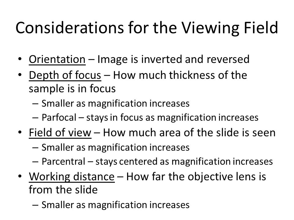 Considerations for the Viewing Field Orientation – Image is inverted and reversed Depth of focus – How much thickness of the sample is in focus – Smal