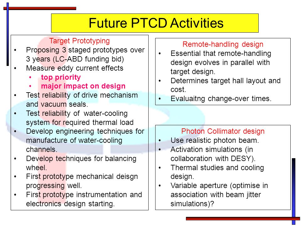 Future PTCD Activities Target Prototyping Proposing 3 staged prototypes over 3 years (LC-ABD funding bid) Measure eddy current effects top priority ma