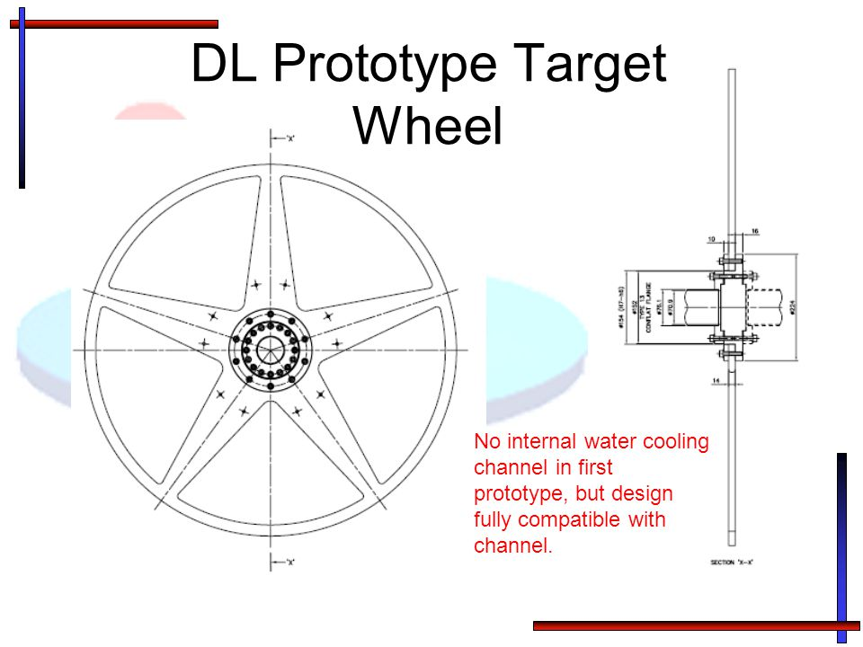 DL Prototype Target Wheel No internal water cooling channel in first prototype, but design fully compatible with channel.