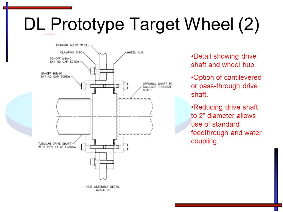 """DL Prototype Target Wheel (2) Detail showing drive shaft and wheel hub. Option of cantilevered or pass-through drive shaft. Reducing drive shaft to 2"""""""