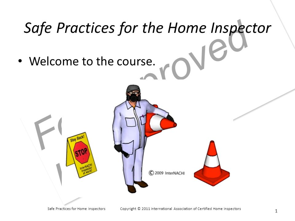 Safe Practices for Home Inspectors Copyright © 2011 International Association of Certified Home Inspectors For Approved Instructors Personal Hygiene showered brushed your teeth, flossed, and used mouthwash trimmed your nails shaved or trimmed your beard combed your hair applied deodorant a hand mirror a comb or brush chewing gum mouthwash deodorant a spare bag for dirtied clothing wet-naps 32