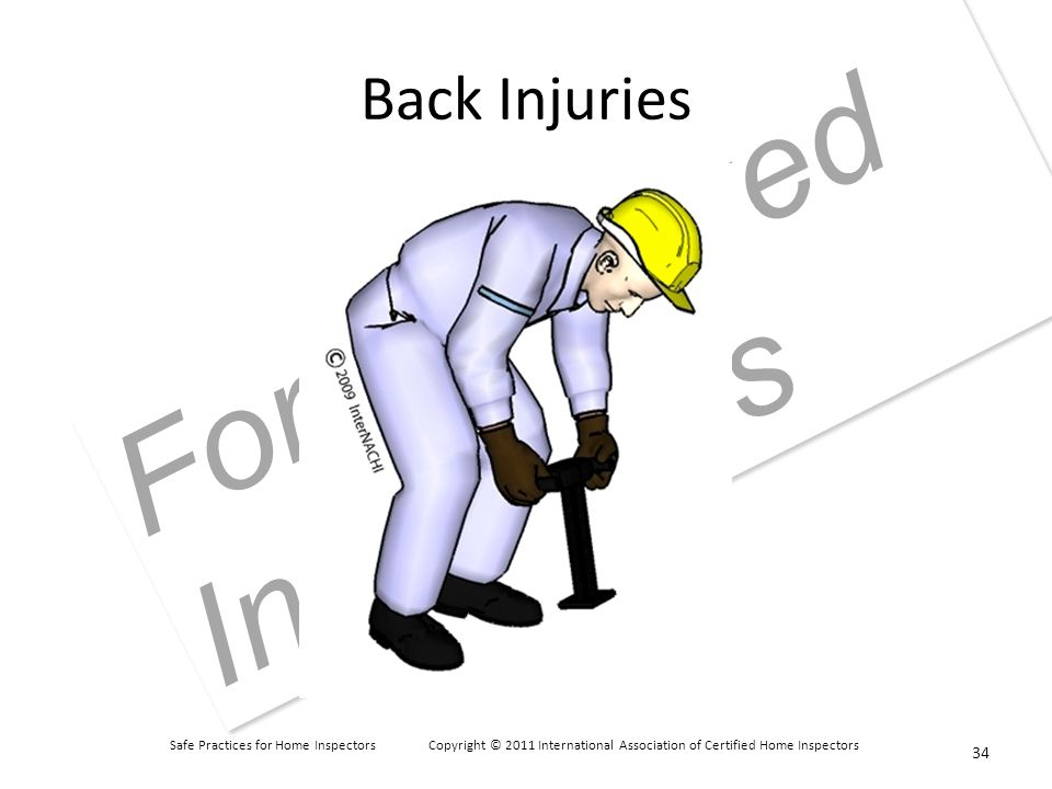 Safe Practices for Home Inspectors Copyright © 2011 International Association of Certified Home Inspectors For Approved Instructors Back Injuries 34