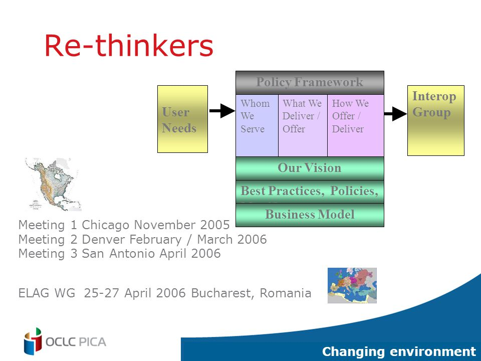 3 Re-thinkers Policy Framework Whom We Serve What We Deliver / Offer How We Offer / Deliver Our Vision Best Practices, Policies, Manifesto Business Model User Needs Interop Group Changing environment Meeting 1 Chicago November 2005 Meeting 2 Denver February / March 2006 Meeting 3 San Antonio April 2006 ELAG WG 25-27 April 2006 Bucharest, Romania