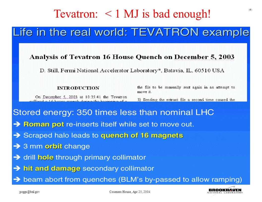 16 peggs@bnl.govCoseners House, Apr 25, 2004 Tevatron: < 1 MJ is bad enough!
