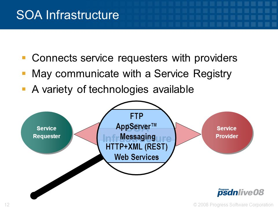 © 2008 Progress Software Corporation12 SOA Infrastructure  Connects service requesters with providers  May communicate with a Service Registry  A variety of technologies available Service Provider Service Provider SOA Infrastructure Service Requester Service Requester FTP AppServer™ Messaging HTTP+XML (REST) Web Services