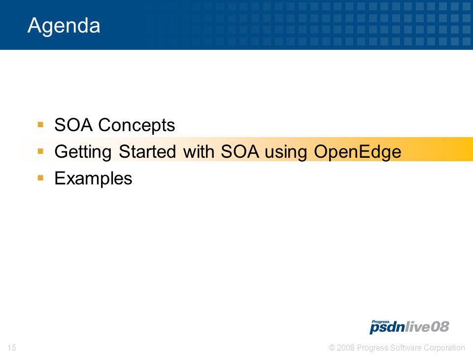 © 2008 Progress Software Corporation15 Agenda  SOA Concepts  Getting Started with SOA using OpenEdge  Examples