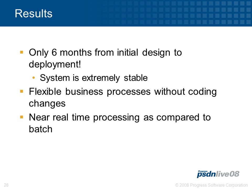 © 2008 Progress Software Corporation28 Results  Only 6 months from initial design to deployment.