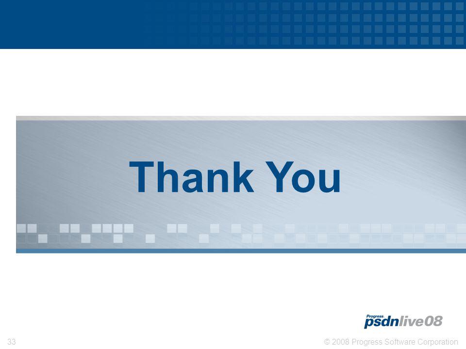 © 2008 Progress Software Corporation33 Thank You