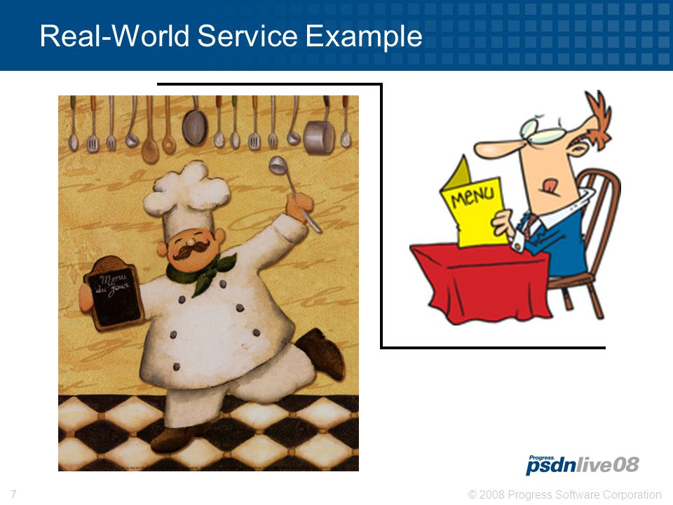 © 2008 Progress Software Corporation7 GET OUT OF MY KITCHEN! Real-World Service Example