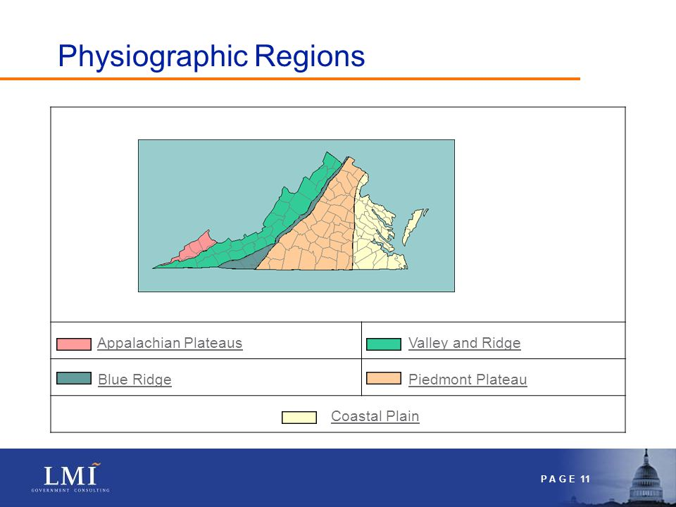 P A G E 11 Appalachian Plateaus Valley and Ridge Blue Ridge Piedmont Plateau Coastal Plain Physiographic Regions