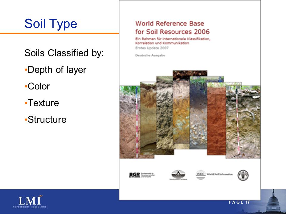 P A G E 17 Soil Type Soils Classified by: Depth of layer Color Texture Structure