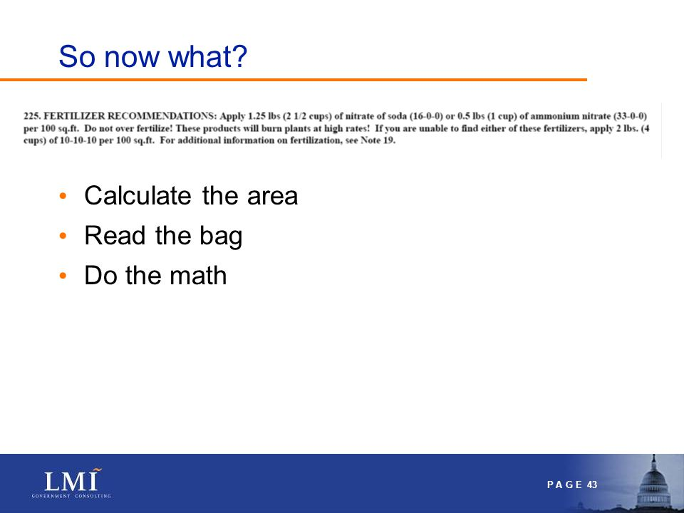 P A G E 43 So now what? Calculate the area Read the bag Do the math