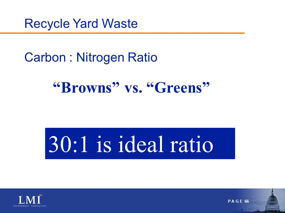 P A G E 66 Carbon : Nitrogen Ratio 30:1 is ideal ratio Browns vs. Greens Recycle Yard Waste