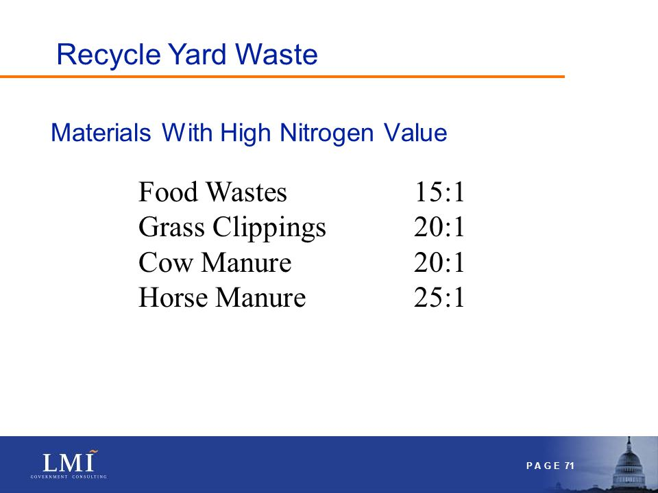 P A G E 71 Materials With High Nitrogen Value Food Wastes15:1 Grass Clippings20:1 Cow Manure20:1 Horse Manure25:1 Recycle Yard Waste