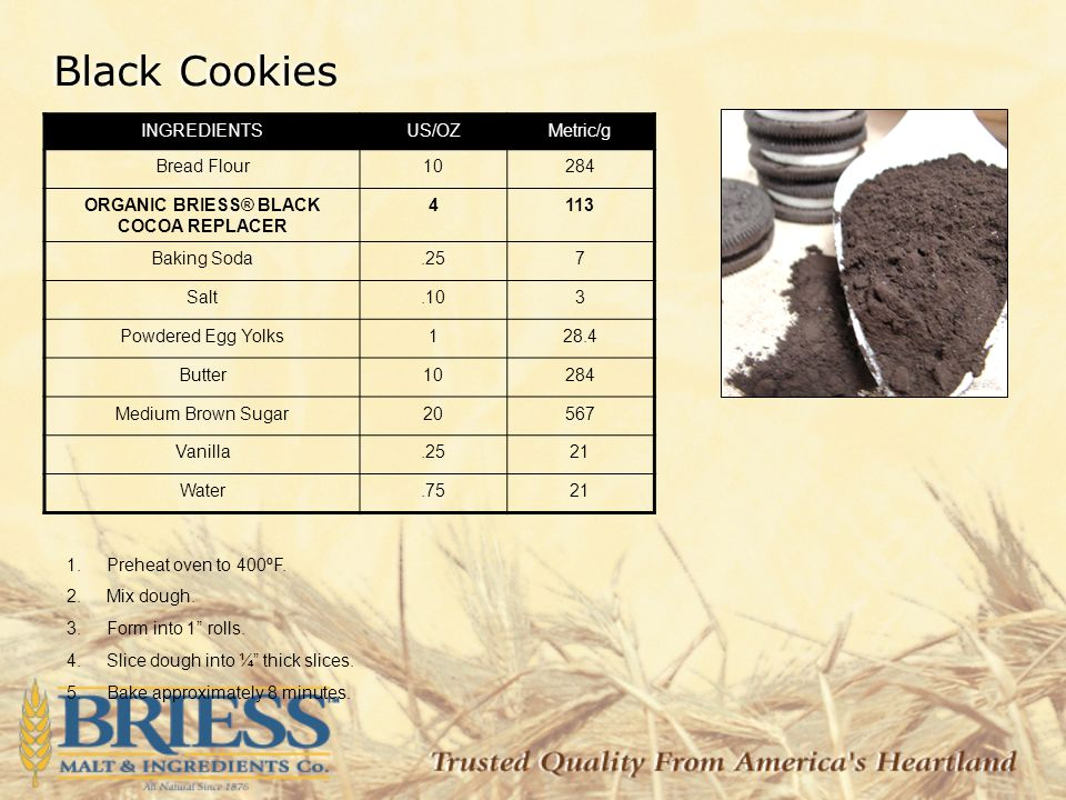 Black Cookies INGREDIENTSUS/OZMetric/g Bread Flour10284 ORGANIC BRIESS® BLACK COCOA REPLACER 4113 Baking Soda.257 Salt.103 Powdered Egg Yolks128.4 Butter10284 Medium Brown Sugar20567 Vanilla.2521 Water.7521 1.Preheat oven to 400ºF.