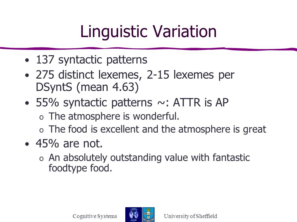 Cognitive Systems University of Sheffield Linguistic Variation 137 syntactic patterns 275 distinct lexemes, 2-15 lexemes per DSyntS (mean 4.63) 55% syntactic patterns ~: ATTR is AP o The atmosphere is wonderful.
