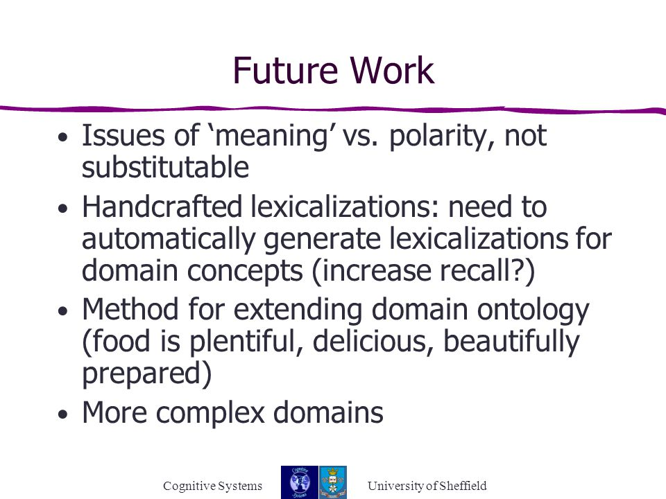 Cognitive Systems University of Sheffield Future Work Issues of 'meaning' vs.