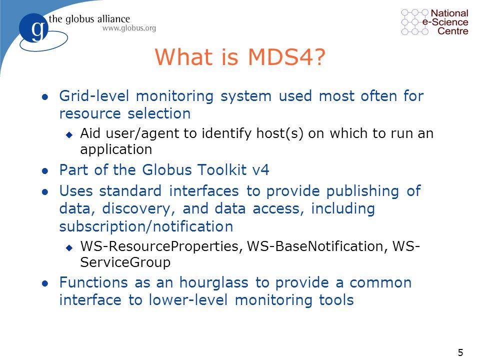 6 Standard Schemas (GLUE schema, eg) Information Users : Schedulers, Portals, Warning Systems, etc.