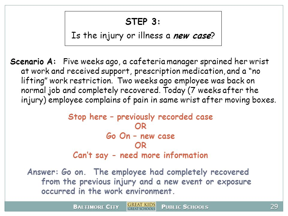 B ALTIMORE C ITY P UBLIC S CHOOLS 29 Stop here – previously recorded case OR Go On – new case OR Can't say - need more information Scenario A: Five weeks ago, a cafeteria manager sprained her wrist at work and received support, prescription medication, and a no lifting work restriction.