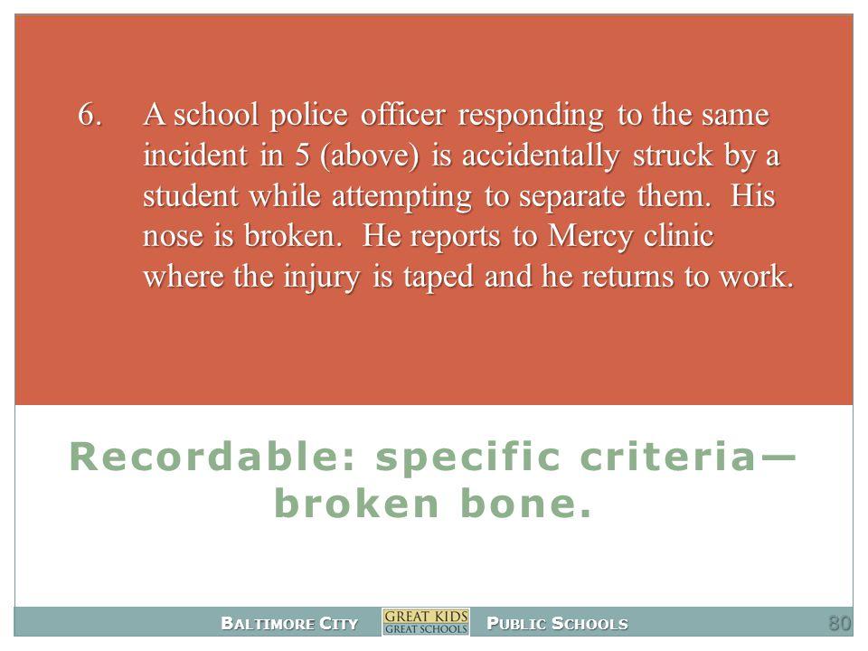 B ALTIMORE C ITY P UBLIC S CHOOLS Recordable: specific criteria— broken bone.