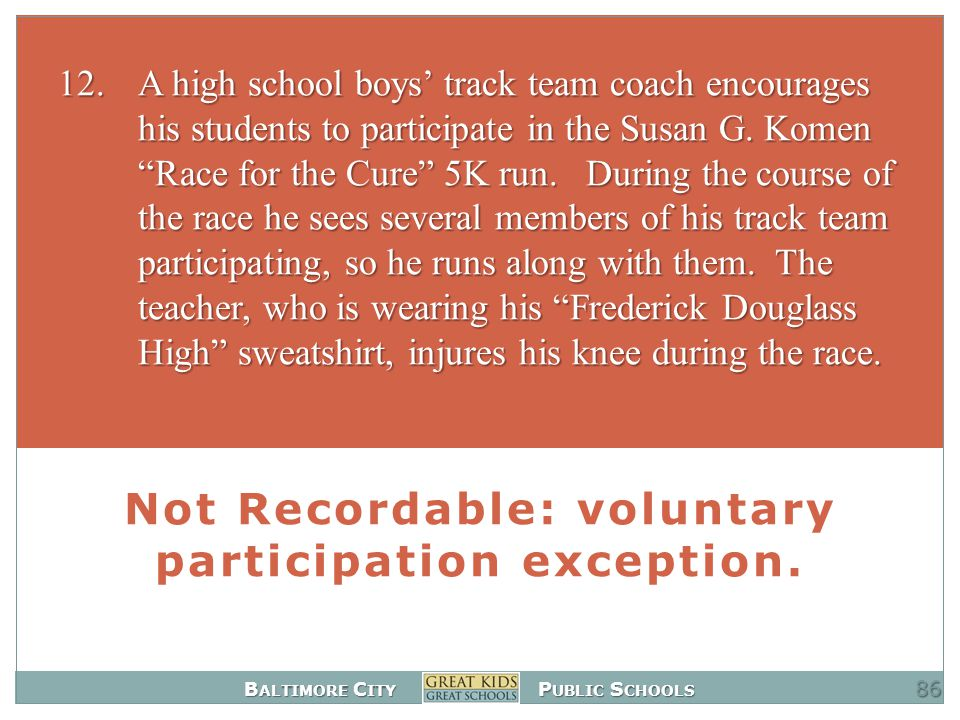 B ALTIMORE C ITY P UBLIC S CHOOLS Not Recordable: voluntary participation exception.