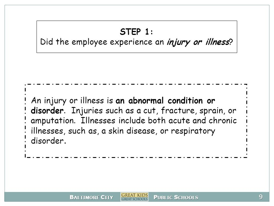 B ALTIMORE C ITY P UBLIC S CHOOLS 30 Scenario B: Four weeks ago, a teacher sprained his ankle at work and was given prescription medication, and routine duties were modified.