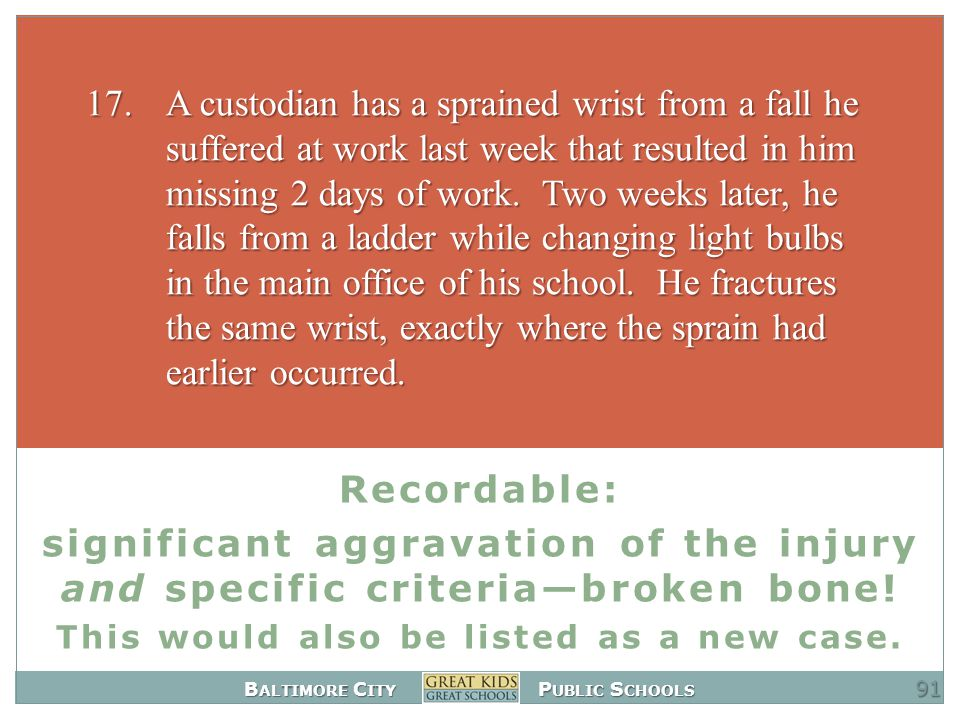 B ALTIMORE C ITY P UBLIC S CHOOLS Recordable: significant aggravation of the injury and specific criteria—broken bone.
