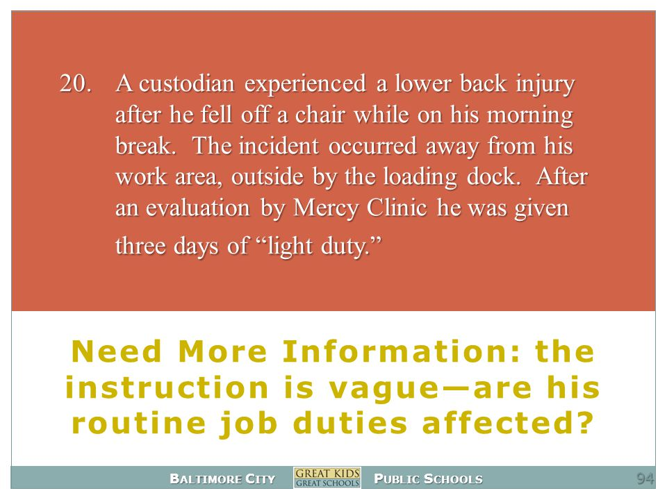 B ALTIMORE C ITY P UBLIC S CHOOLS Need More Information: the instruction is vague—are his routine job duties affected.