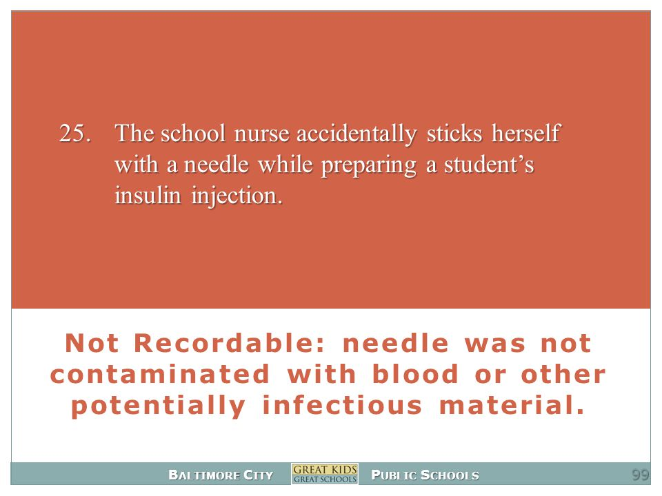 B ALTIMORE C ITY P UBLIC S CHOOLS Not Recordable: needle was not contaminated with blood or other potentially infectious material.