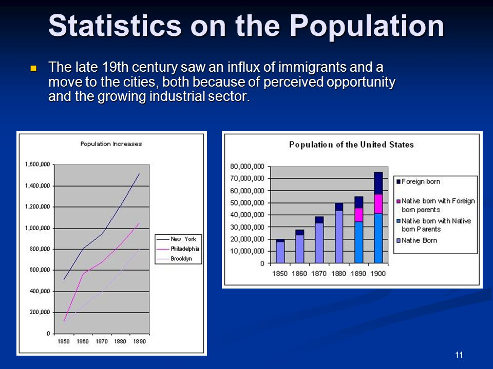 11 Statistics on the Population The late 19th century saw an influx of immigrants and a move to the cities, both because of perceived opportunity and the growing industrial sector.