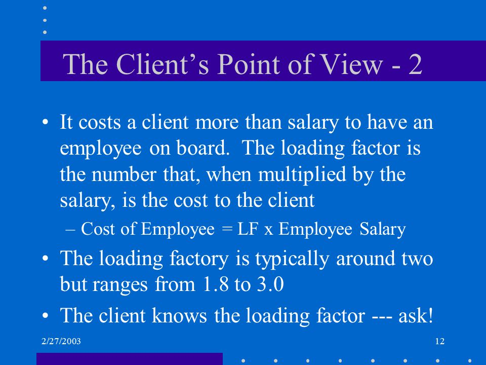 2/27/200312 The Client's Point of View - 2 It costs a client more than salary to have an employee on board. The loading factor is the number that, whe