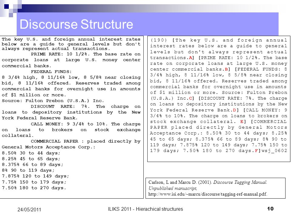 Discourse Structure The key U.S.