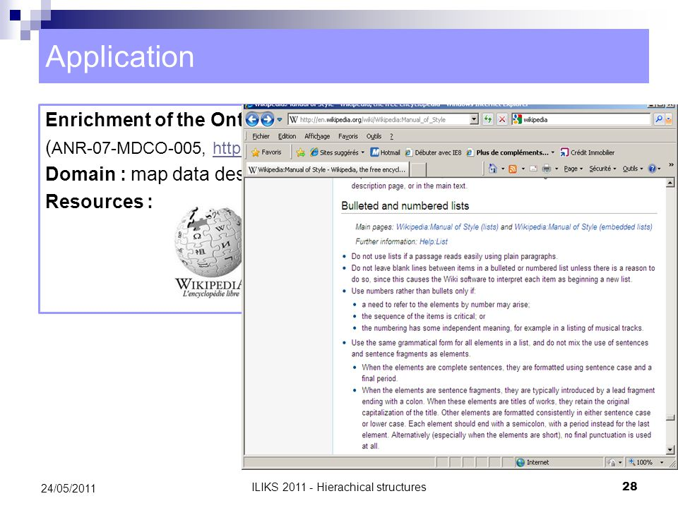 Application Enrichment of the OntoTopo ontology ( ANR-07-MDCO-005, http://www.lri.fr/geonto)http://www.lri.fr/geonto Domain : map data description – geography Resources : 24/05/2011 28 ILIKS 2011 - Hierachical structures