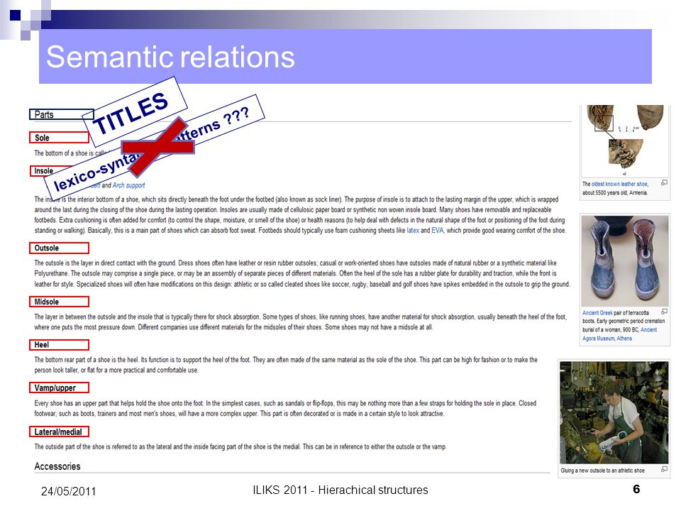 Semantic relations TITLES lexico-syntactic patterns .
