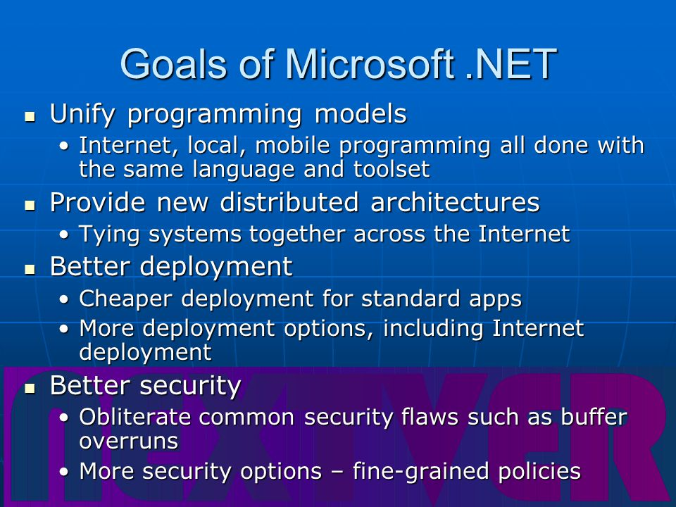 Languages in.NET There are over thirty languages already enabled or being enabled to work with the.NET platform, including: There are over thirty languages already enabled or being enabled to work with the.NET platform, including: Visual BasicVisual Basic C# (Microsoft' new Java-like language)C# (Microsoft' new Java-like language) JavaJava COBOLCOBOL All have similar flexibility and performance characteristics All have similar flexibility and performance characteristics Languages work together transparently, including the ability to do cross-language inheritance Languages work together transparently, including the ability to do cross-language inheritance FortranFortran Many othersMany others