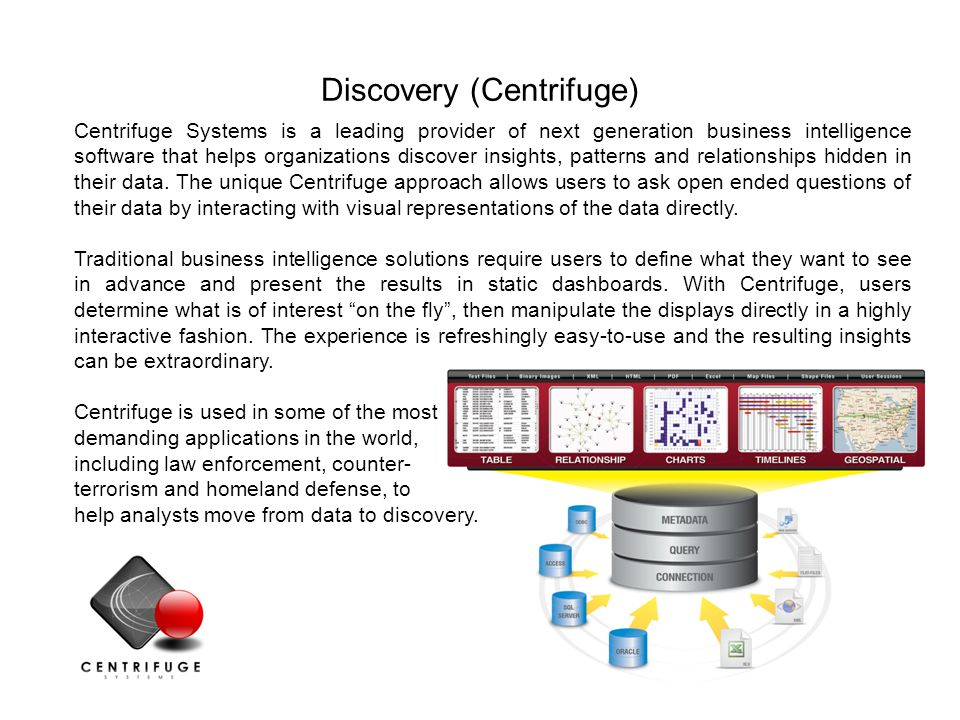 24 Centrifuge Server Centrifuge provides an interactive visualization layer on data such as the Toxics Release Inventory-Made Easy for the Web (TRI-ME WEB).