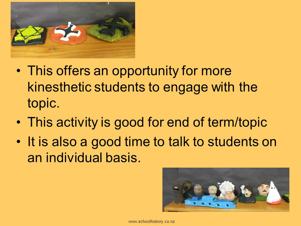 This offers an opportunity for more kinesthetic students to engage with the topic. This activity is good for end of term/topic It is also a good time