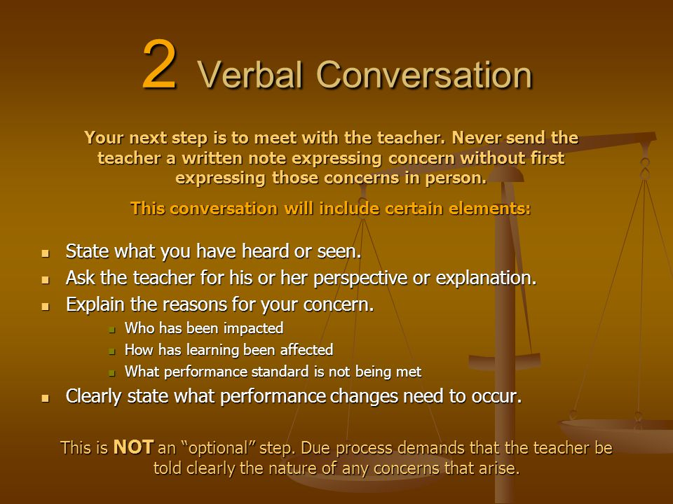 2 Verbal Conversation State what you have heard or seen. State what you have heard or seen. Ask the teacher for his or her perspective or explanation.